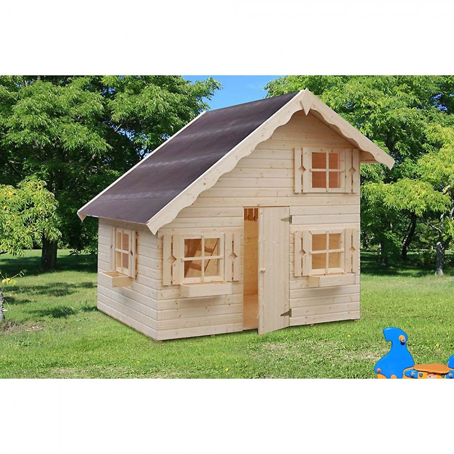 gro es kinder spielhaus gartenhaus heidi aus holz unbehandelt 220x180 cm. Black Bedroom Furniture Sets. Home Design Ideas