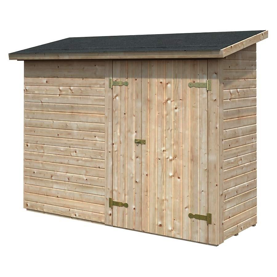 Gartenschrank aus Holz unbehandelt 234 x 95 cm mit Tür von ...