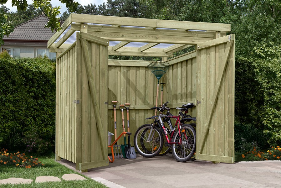 gartenschuppen holz typ 1 mit flachdach fahrrad garage. Black Bedroom Furniture Sets. Home Design Ideas