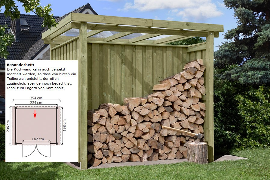 Gartenschuppen Aus Holz Typ 1 Mit Flachdach Fahrradbox 254 X 206