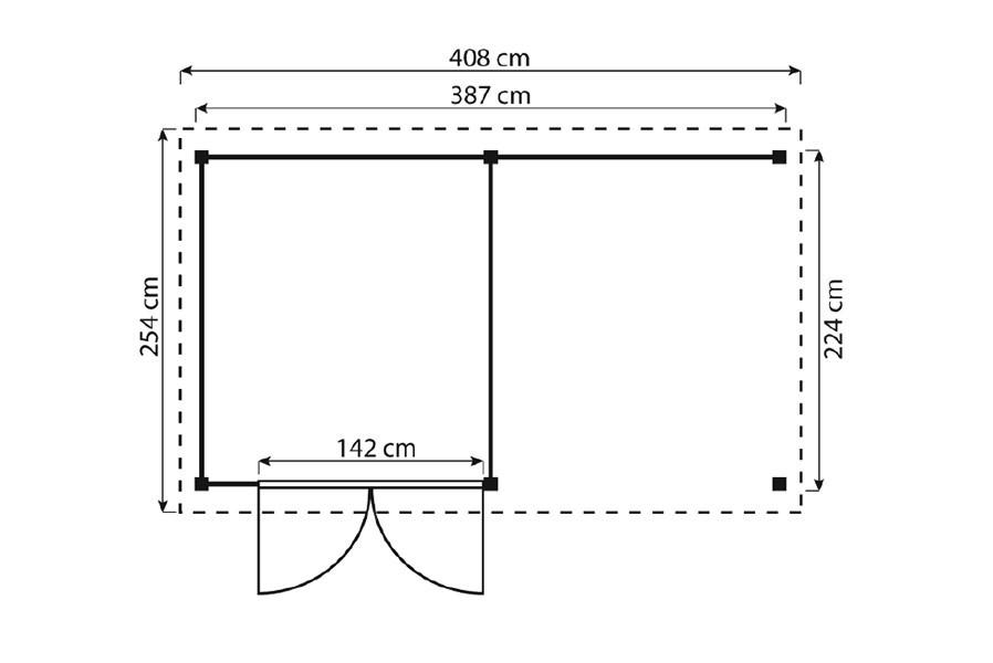 ger tehaus gartenschuppen holz typ 2 flachdach mit unterstand fahrrad garage. Black Bedroom Furniture Sets. Home Design Ideas