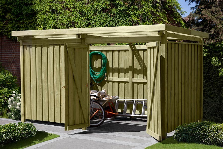 Gartenschuppen Aus Holz Typ 3 Fahrradunterstand 408 X 254 Cm