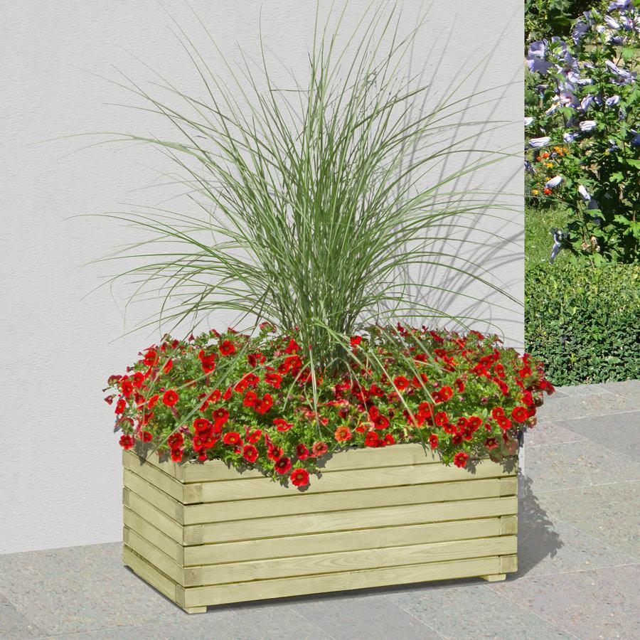 Pflanzkasten rechteckig 80 x 40 x 33 cm aus Holz