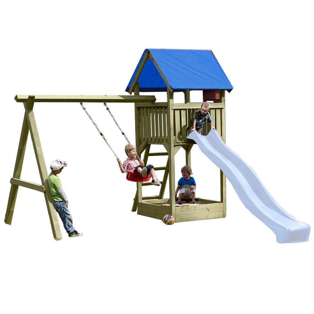 Sehr Spielturm Premium S mit Schaukel und Sandkasten aus Kantholz KM32