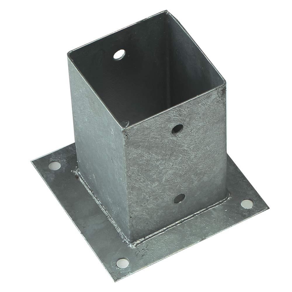 Aufschraubhülse als Pfostenträger für Pfosten 7x7 cm mit Bodenplatte