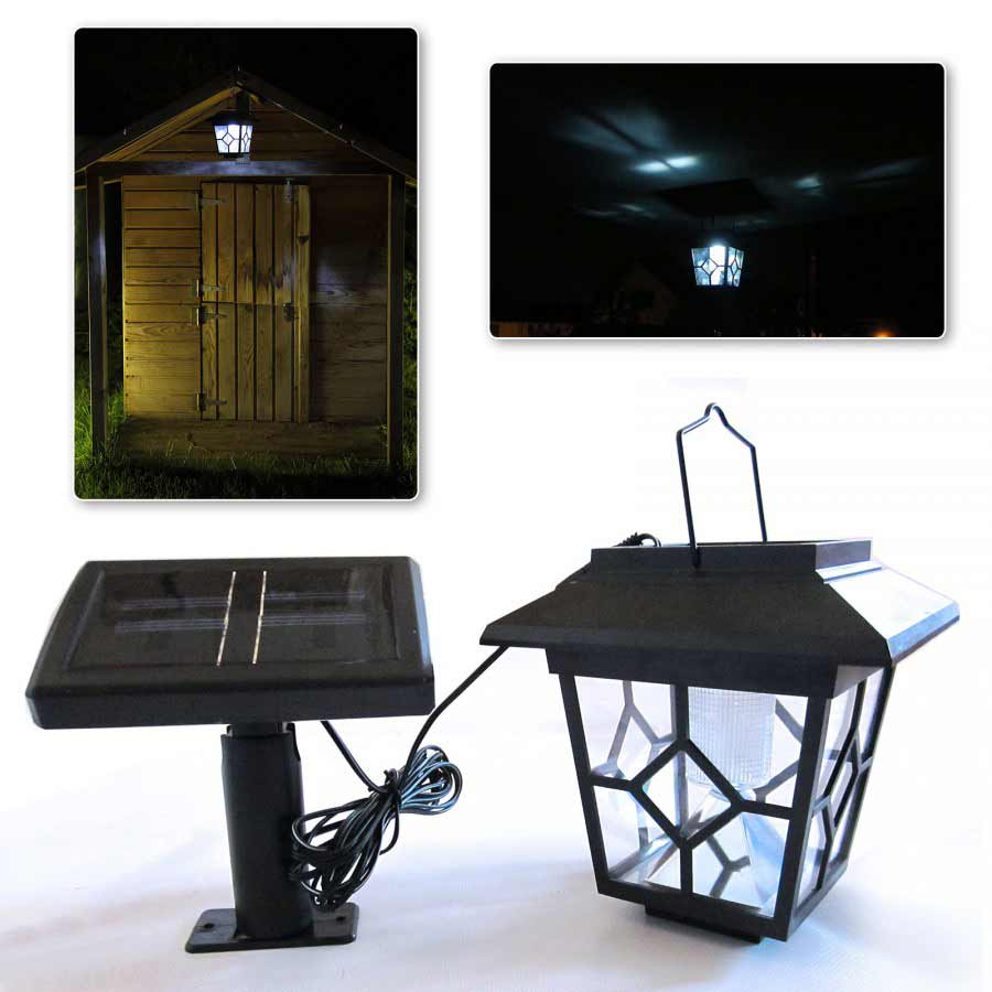 led solar laterne f r gartenhaus spielhaus mit externer solarzelle als lampe ebay. Black Bedroom Furniture Sets. Home Design Ideas