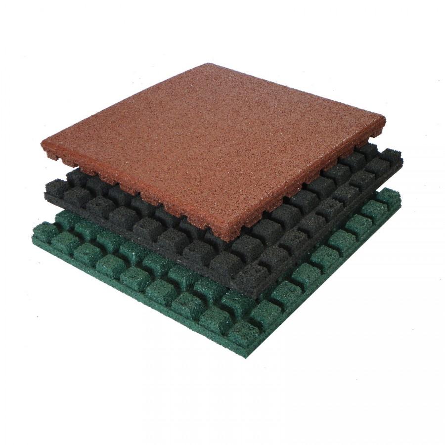 Fallschutzmatte 50x50 cm, 43 mm, schwarz / rot / grün