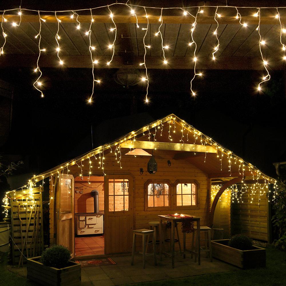 LED Eisregen Lichterkette 480 warmweiß