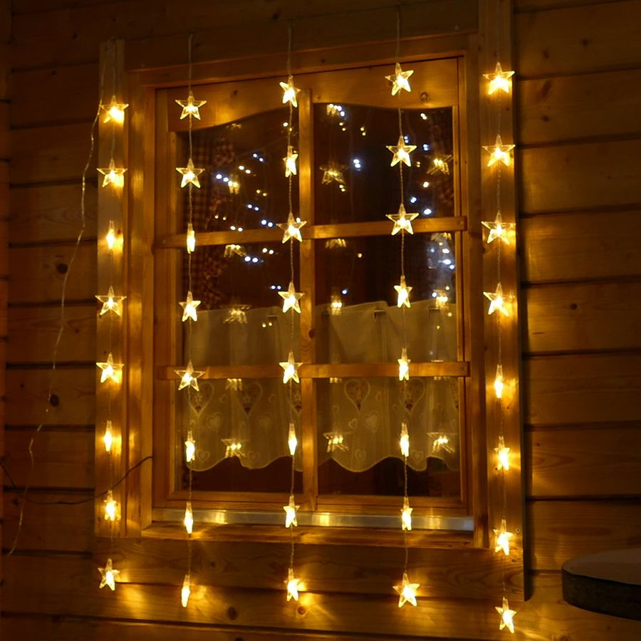 fenster lichterkette 40 led sterne beleuchtet lichtervorhang weihnachten deko ebay. Black Bedroom Furniture Sets. Home Design Ideas