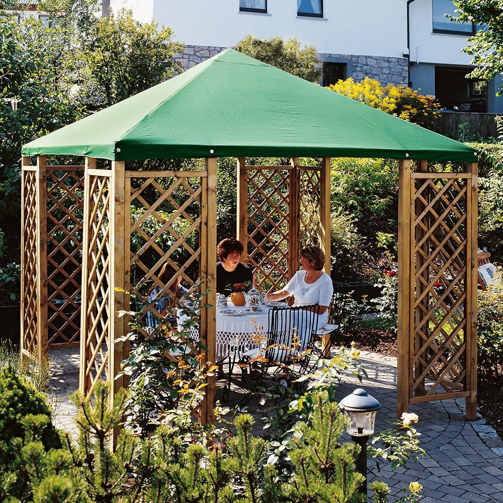 Gartenlaube Holz Pavillon Mit Dach 3x3 M Mit Rankgitter Und