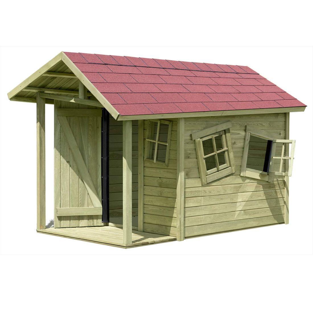 Kinder-Gartenhaus mit schrägem Dach und Fenster