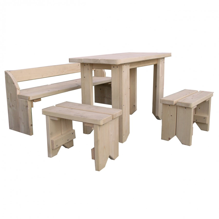 sitzgruppe f r kinder kinderm bel aus holz natur mit tisch 2 hocker bank. Black Bedroom Furniture Sets. Home Design Ideas