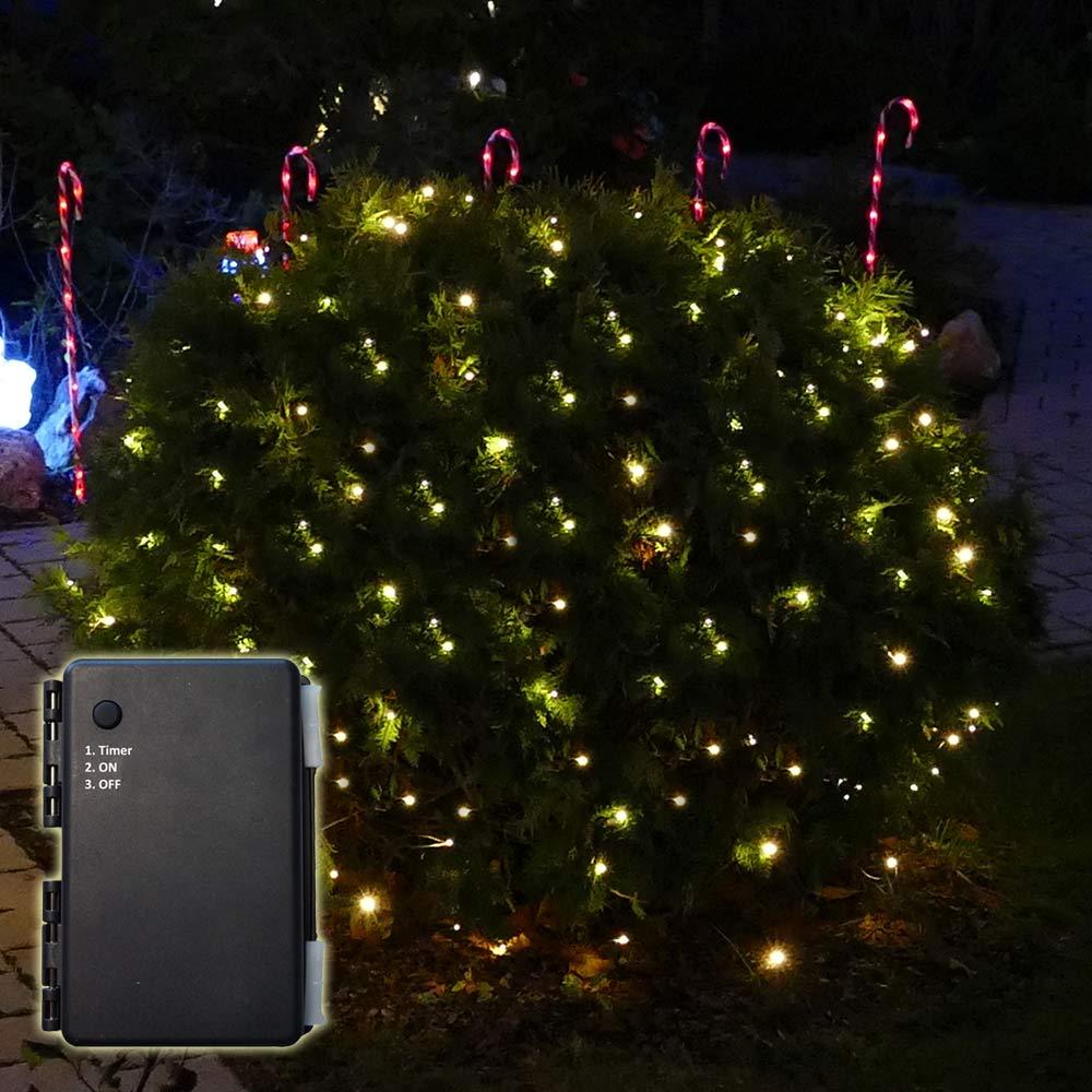 Batterie-Lichternetz 2x2 m mit Timer für außen