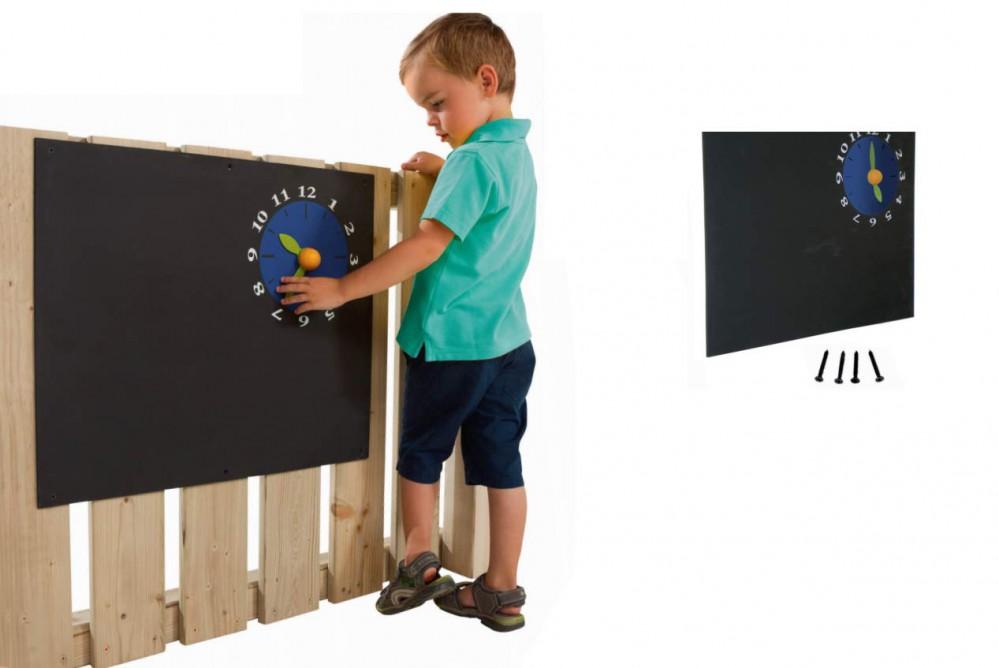 Kreidetafel 60x50 cm mit Uhr für Kinder