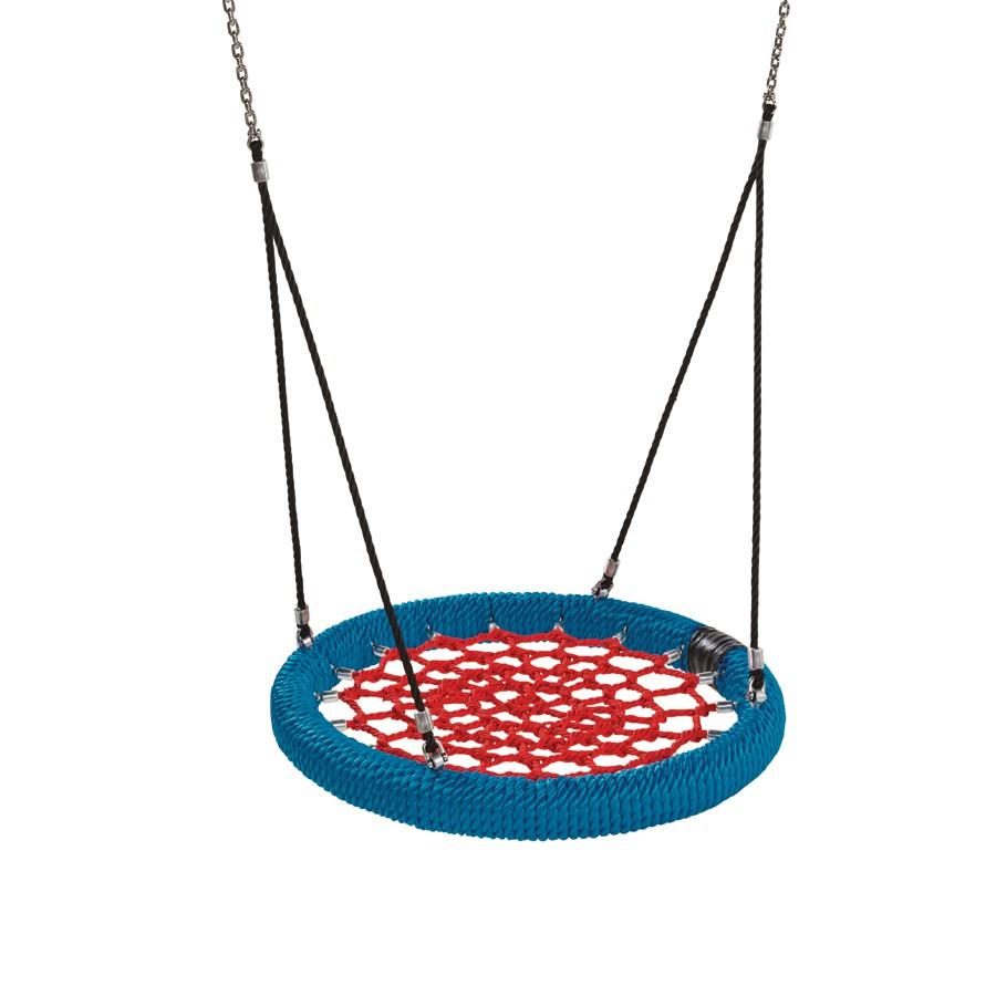 Nestschaukel Ø 100 cm rot/blau für Spielplatz öffentlich nach EN 1176