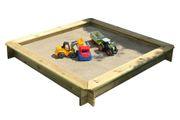 Sandkasten 150x150 mit Sand und Spielzeug