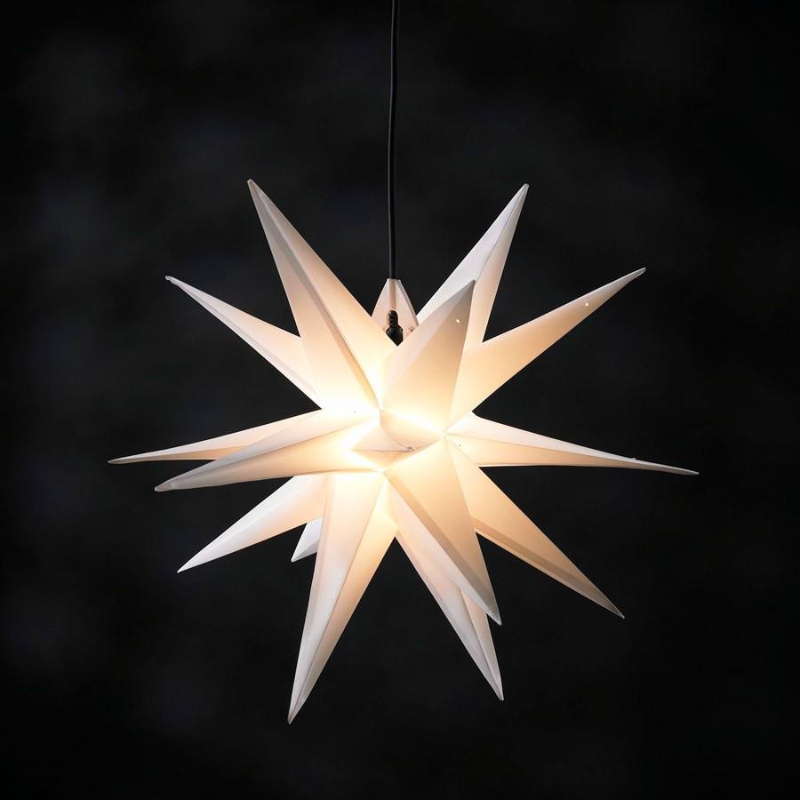 Adventsstern Ø 50 cm weiss 3D Außenstern Weihnachtsstern beleuchtet Deko Garten | eBay