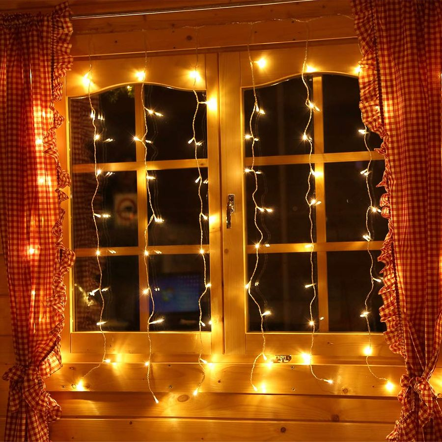 80 led lichtervorhang fenster lichterkette eisregen 1 3m. Black Bedroom Furniture Sets. Home Design Ideas