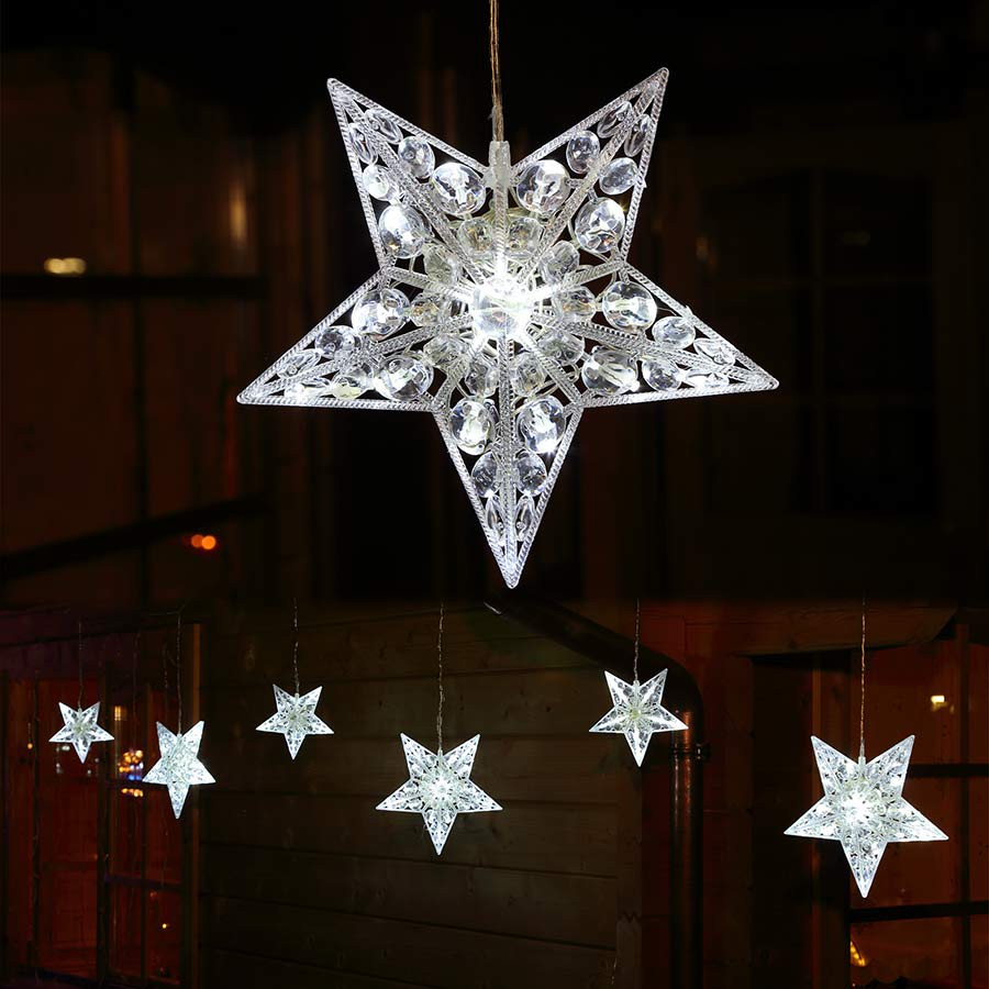 lichterkette mit 6x stern gro beleuchtet 90 led au en weihnachten. Black Bedroom Furniture Sets. Home Design Ideas