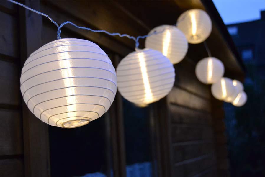 lampion lichterkette mit 25 gro en led lampions 15 cm wei f r au en. Black Bedroom Furniture Sets. Home Design Ideas