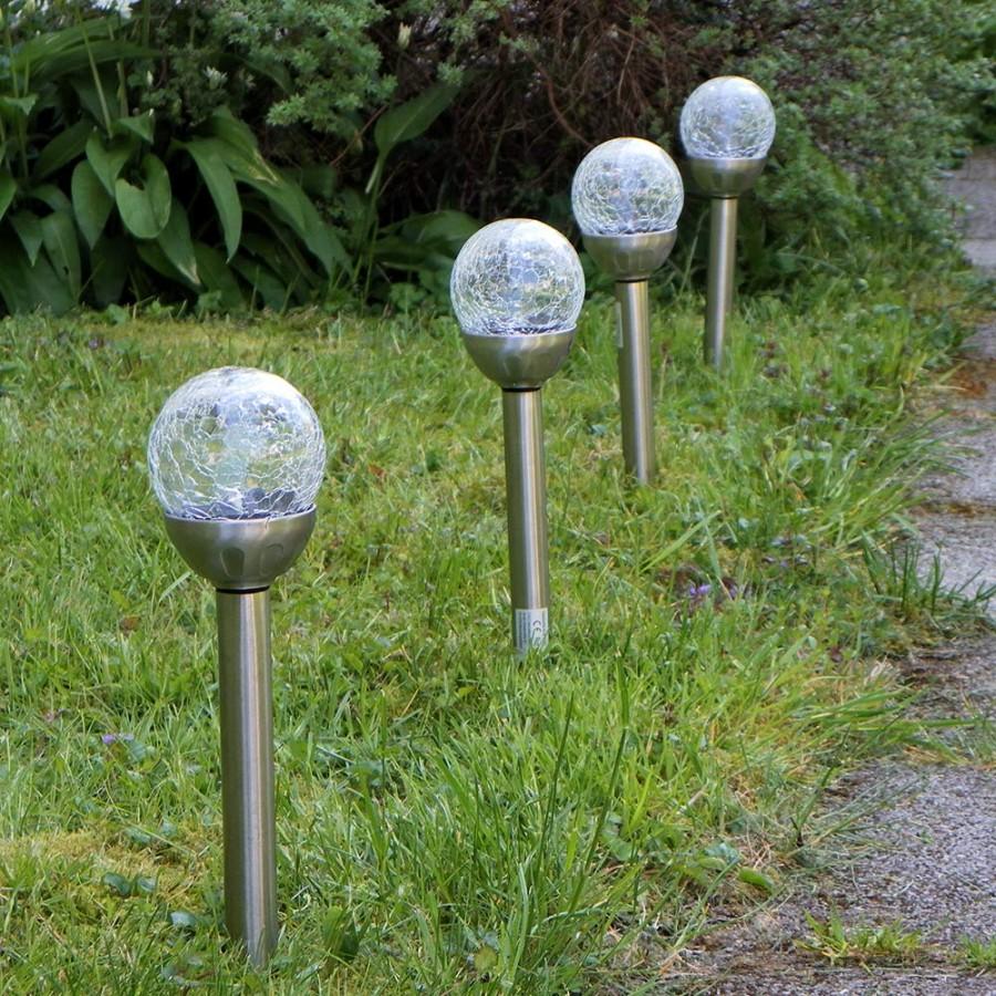 4er Set LED Solar-Lampen Edelstahl/Glas