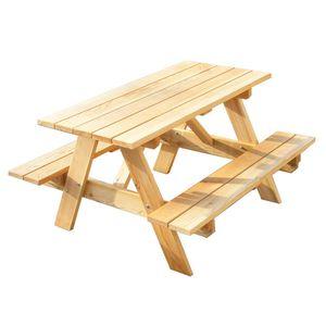 Kindergarnitur Gartentisch mit Bank unbehandelt Lärche - Premiumqualität