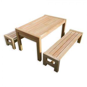 Garten-Garnitur für Kinder aus Lärchenholz mit Tisch und zwei Bänken