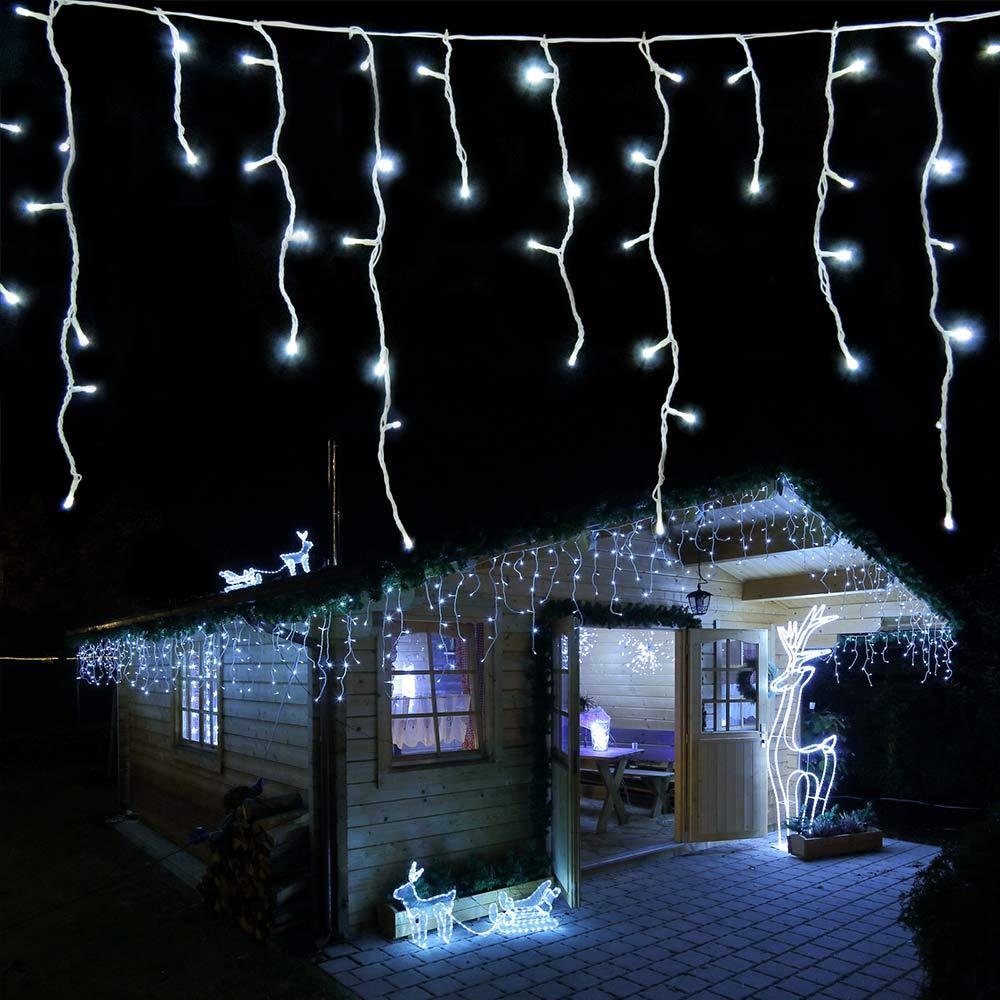 LED Eisregen Lichterkette 168 LED kaltweiß