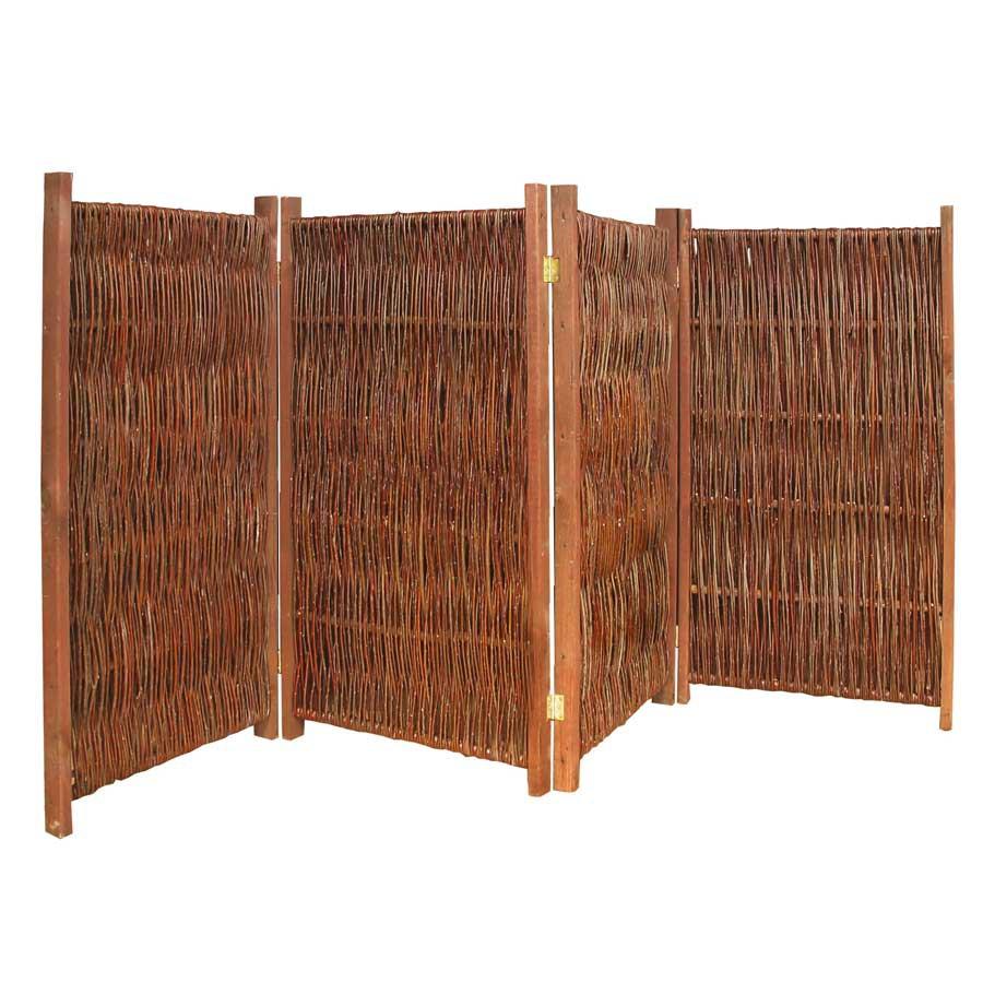 Paravent Raumteiler 4-teilig aus Holz + Weide geflochten Trennwand ...
