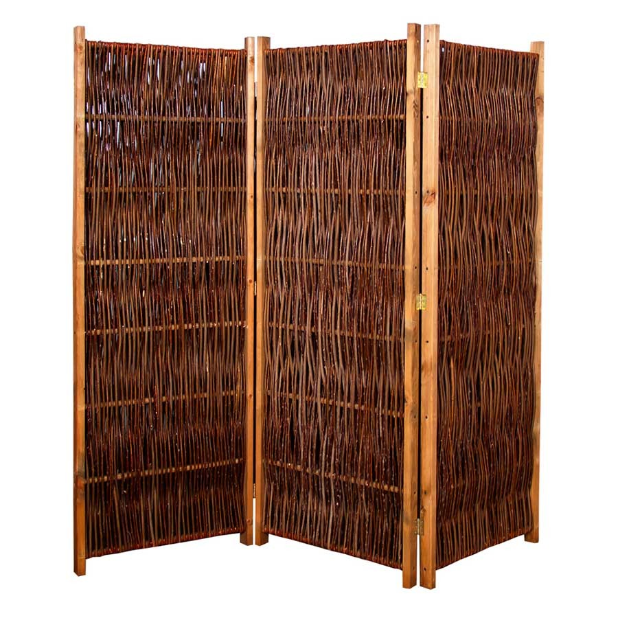 Weiden-Paravent Raumteiler 3-teilig 180 x 180 cm