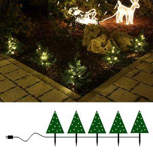 Lichterkette mit 5 Mini-Tannen beleuchtet für außen