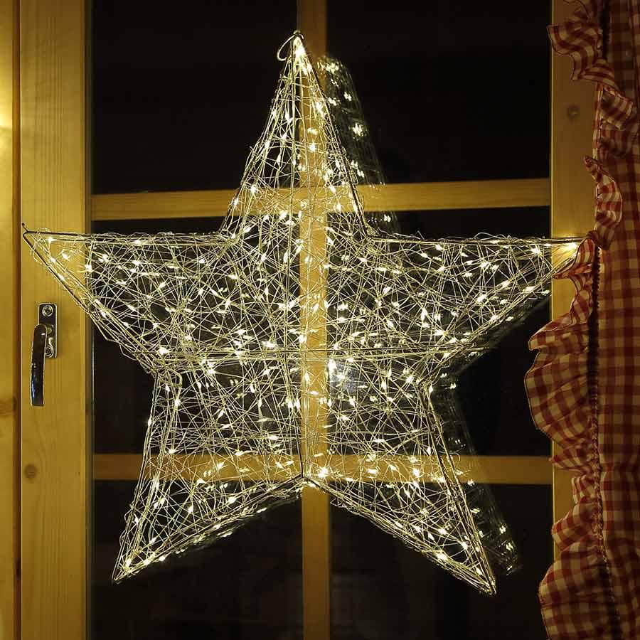 LED Weihnachtsstern Draht-Stern 58 cm