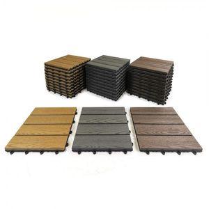 WPC-Fliesen 11 Stück (= 1 m²) grau / braun / teak 30 x 30 cm