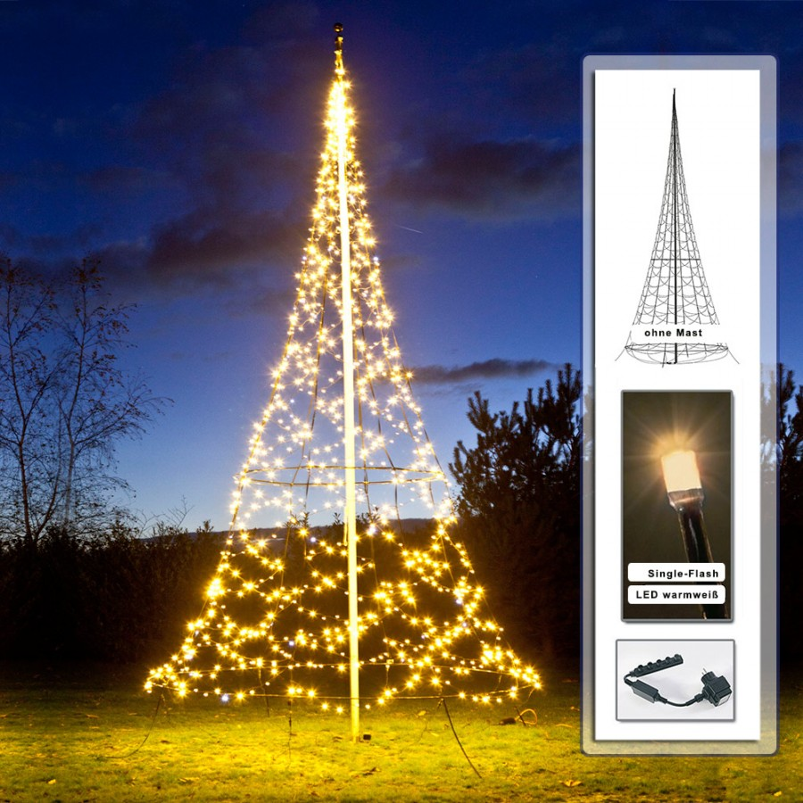 fairybell k nstlicher weihnachtsbaum 6m 960 led lichterkette f r fahnenmast ebay. Black Bedroom Furniture Sets. Home Design Ideas