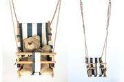 Babyschaukelsitz aus Holz und Stoff