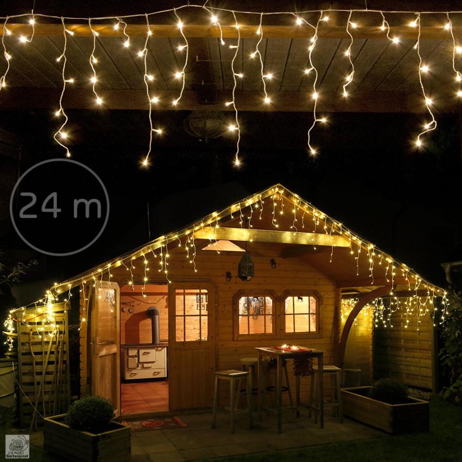 B-Ware - LED Eisregen Lichterkette 960 warmweiße LED 24 m
