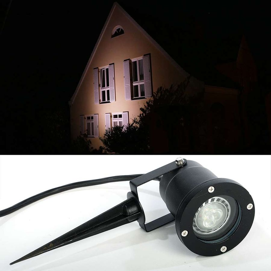 aussenleuchte led strahler spot f r garten mit erdspie 230v scheinwerfer ebay. Black Bedroom Furniture Sets. Home Design Ideas