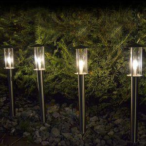 Set 4x LED Wegeleuchten aus Edelstahl