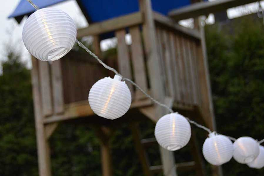 solar lichterkette mit 20 led lampion wei partylichterkette garten party aussen ebay. Black Bedroom Furniture Sets. Home Design Ideas