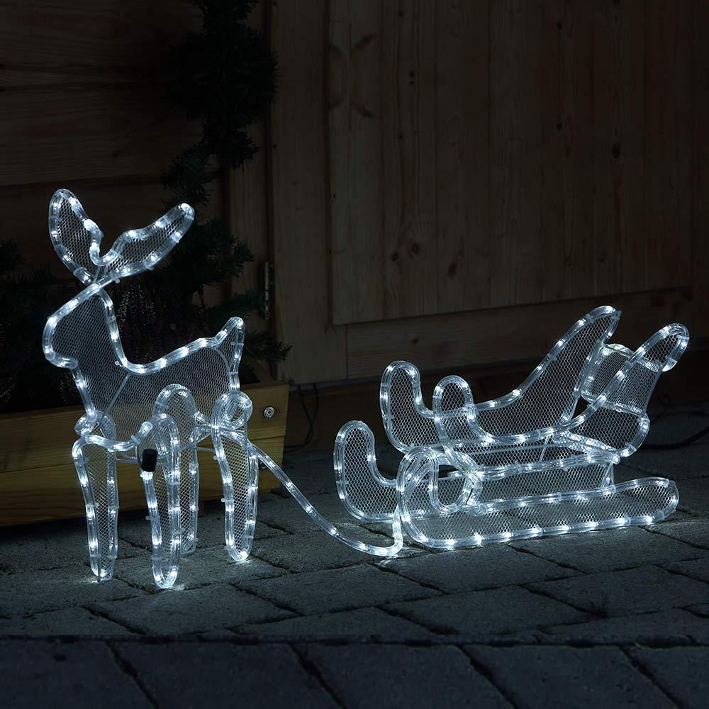 B-Ware - Rentier mit Schlitten beleuchtet LED kaltweiß außen