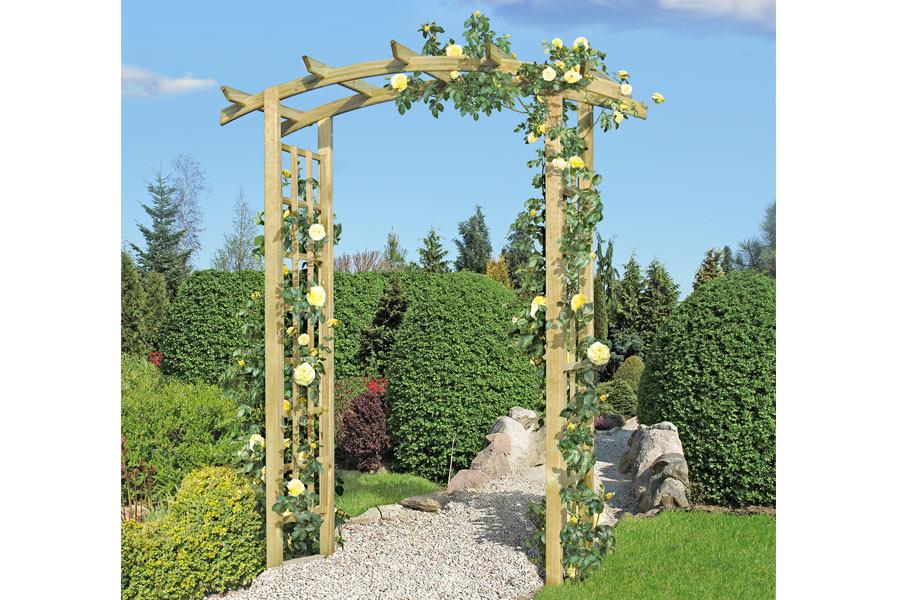 Rosenbogen aus holz for Gartengestaltung rosenbogen