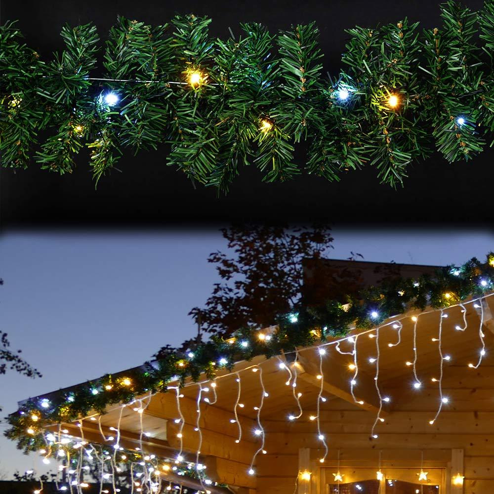 Tür-Girlande mit Lichterkette für Weihnachten
