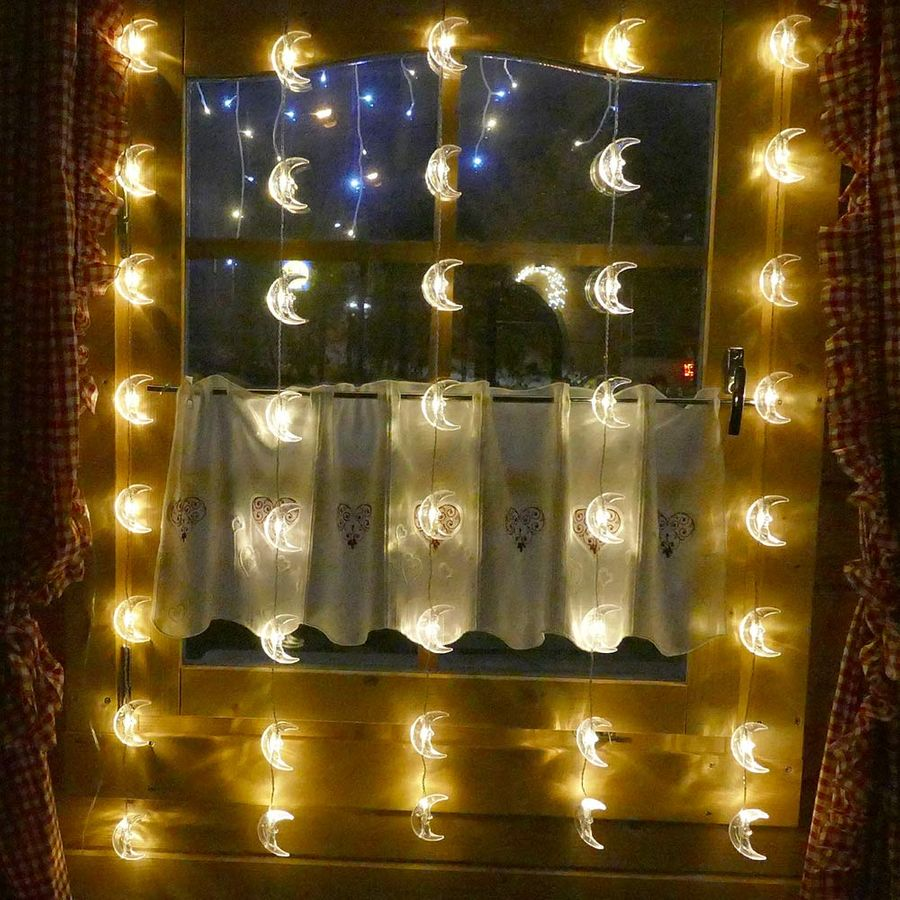 led weihnachtsbeleuchtung lichterkette lichtervorhang 40x mond fensterdeko ebay. Black Bedroom Furniture Sets. Home Design Ideas