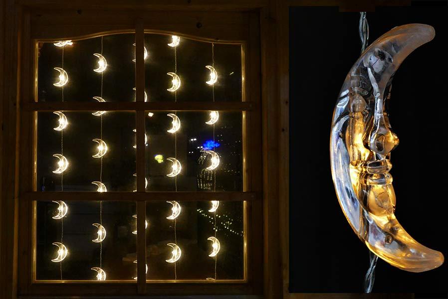Lichtervorhang mit mond for Lichtervorhang weihnachten