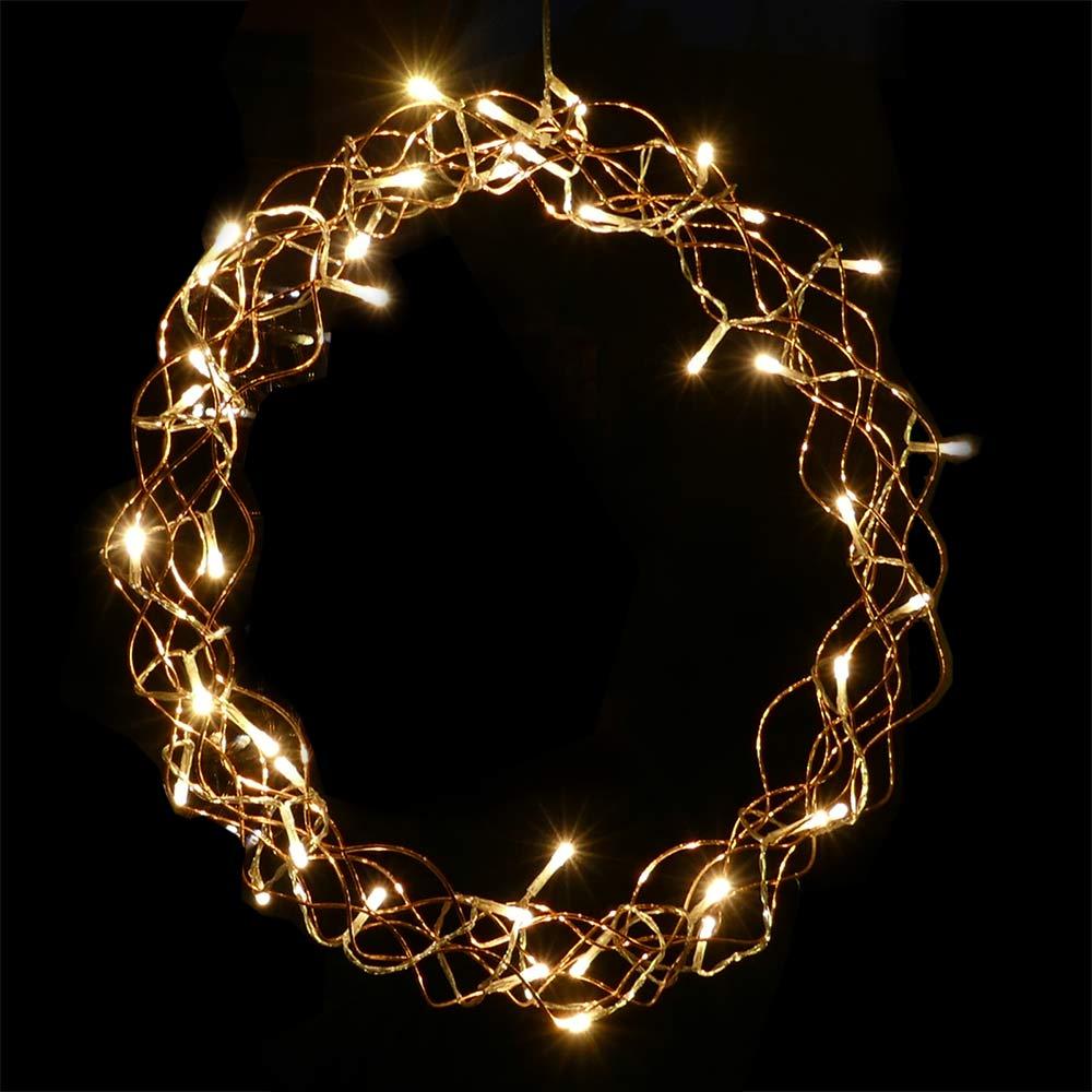 Weihnachtsbeleuchtung Kranz.Lichterkranz ø 40cm Kupfer 40 Led Beleuchtet Zum Aufhängen Weihnachten