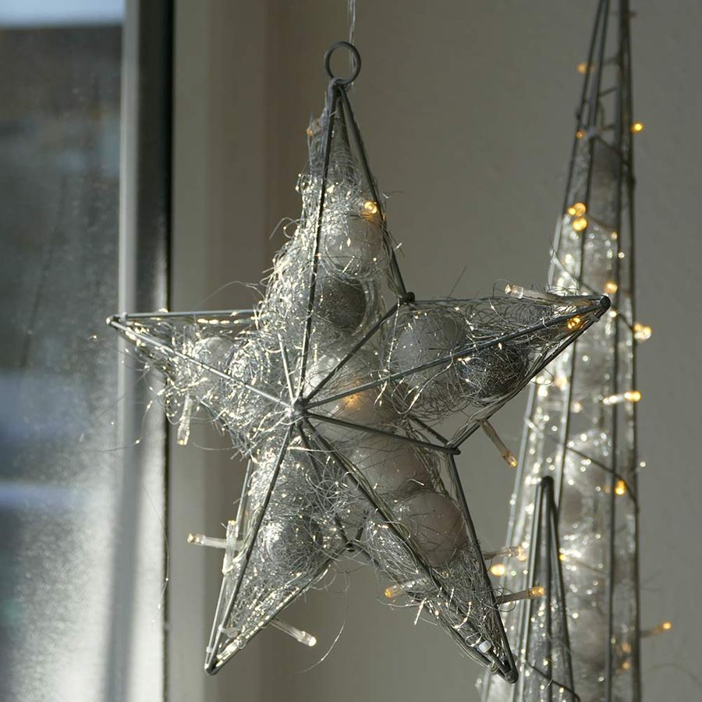 weihnachtsstern silbern 30cm fensterstern 20 led. Black Bedroom Furniture Sets. Home Design Ideas