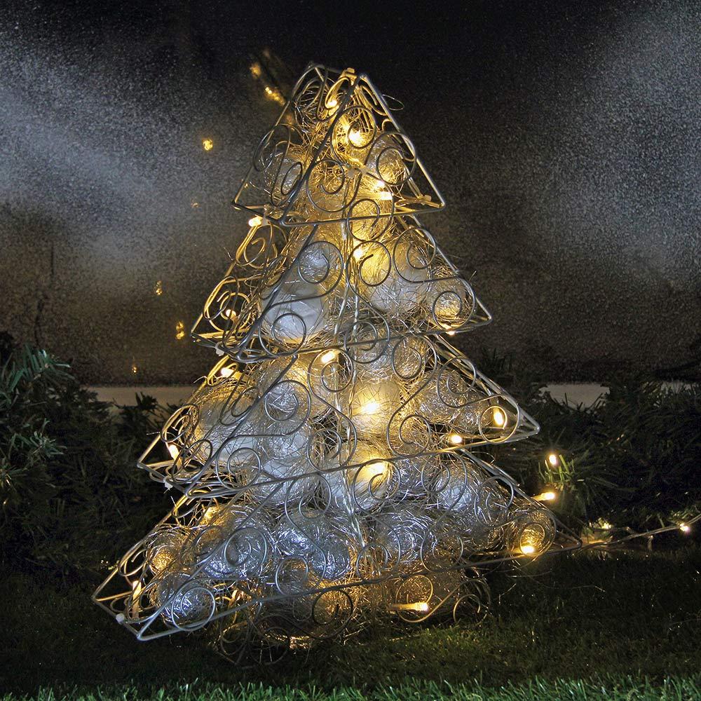 Drahtfigur Tanne silbern mit LED für Weihnachten