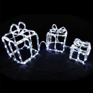 Lichtschlauchfigur mit 3 Geschenkboxen