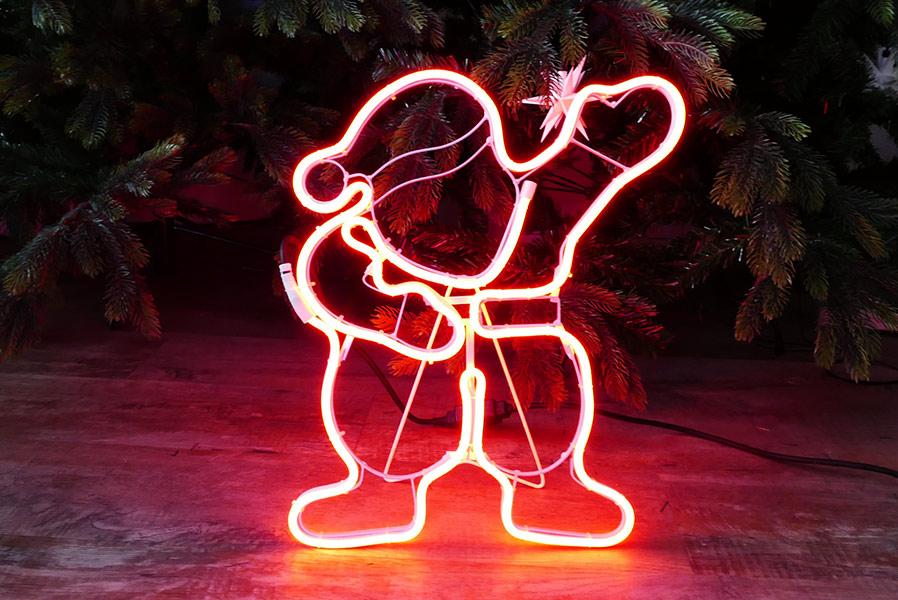 Weihnachtsmann Als Figur Aus Neon Lichtschlauch