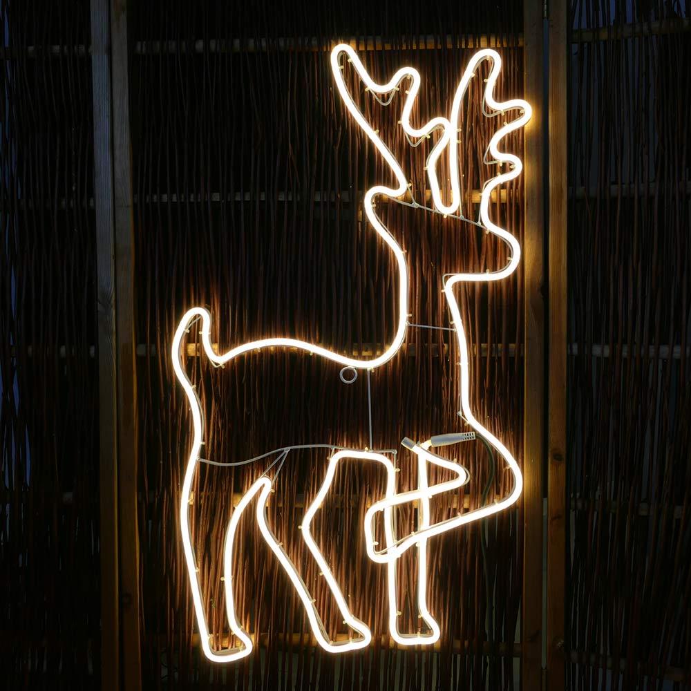 Rentier aus Neon-Lichtschlauch für Garten oder Wohnung
